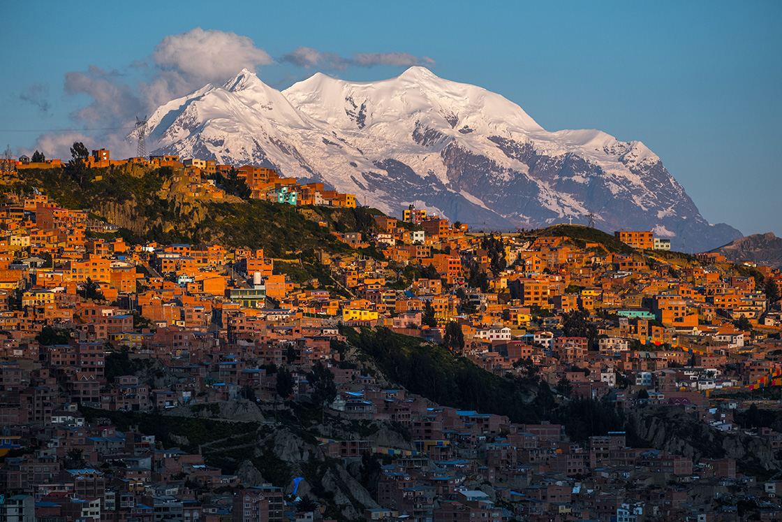 City,Of,La,Paz,And,Mountain,Of,Illimani,During,Sunset,