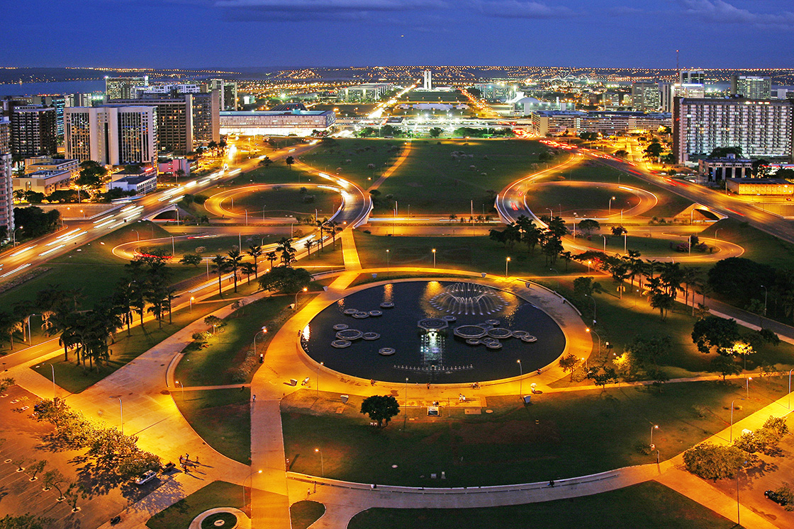 Monumental,Axis,Of,Brasilia,At,Dusk,,Brazil